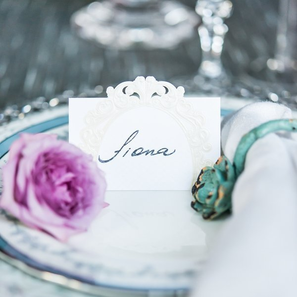 Pearls and Lace Laser Embossed Place Cards