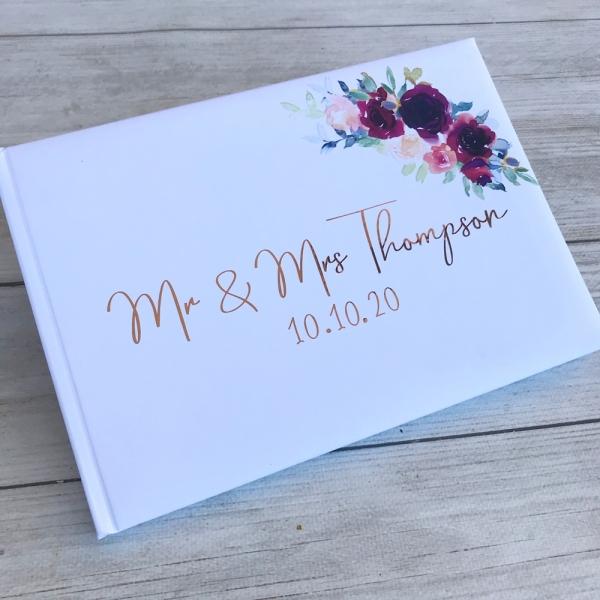 Personalised Burgundy Floral Wedding Guest Book