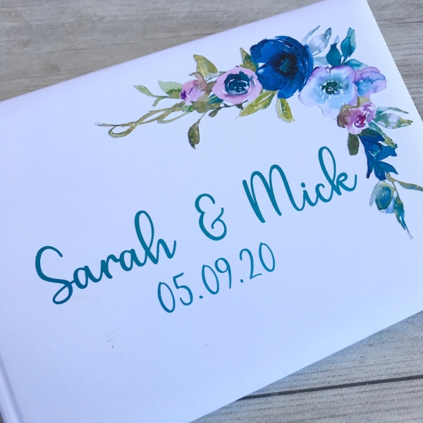 Personalised Blue & Purple Floral Wedding Guest Book
