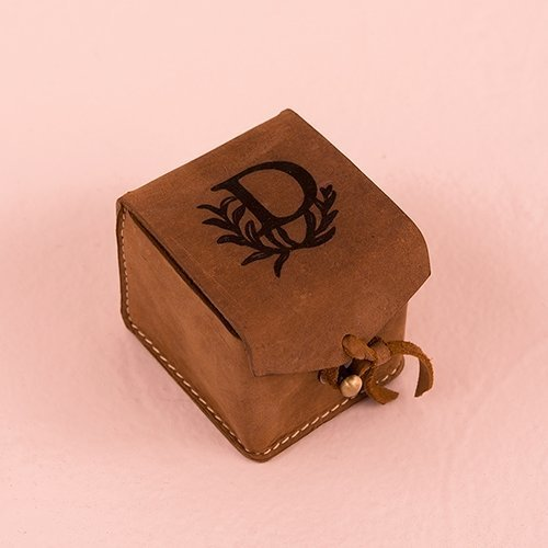 Personalised Tanned Genuine Leather Ring Box