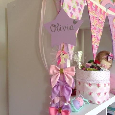 Personalised Star Ribbon Hair Clip Hanger - Organiser
