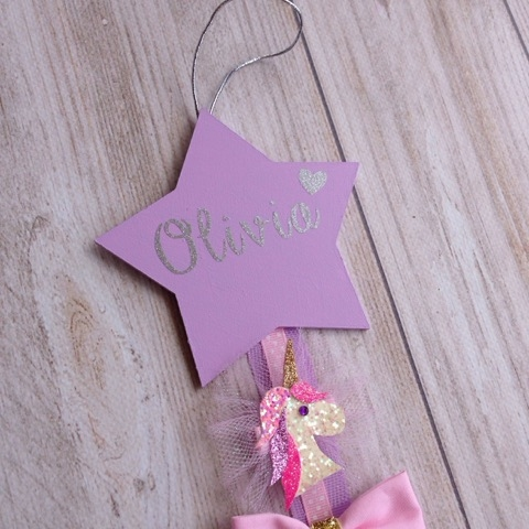 Personalised Star Ribbon Hair Clip Hanger - Organiser