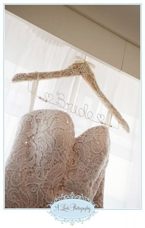 Stunning Lace Covered Wedding Coat Hanger