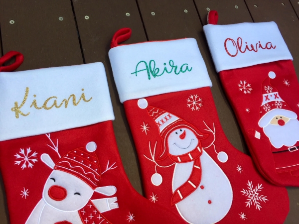 Personalised Christmas Stockings With Glitter Names