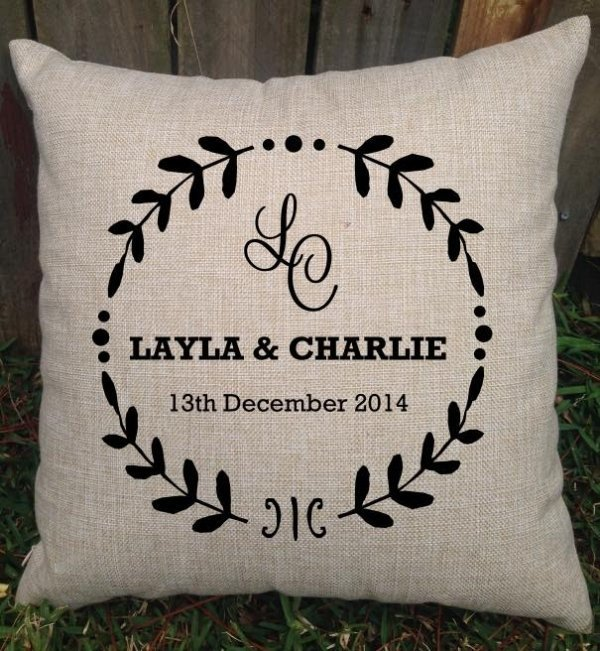Personalised Rustic Design Wedding Cushion