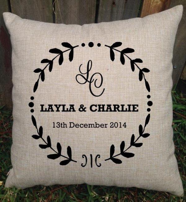 Personalised Rustic Design Wedding Cushion