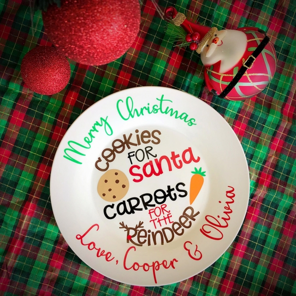 Personalised Santa Christmas Plate - Hand Decorated