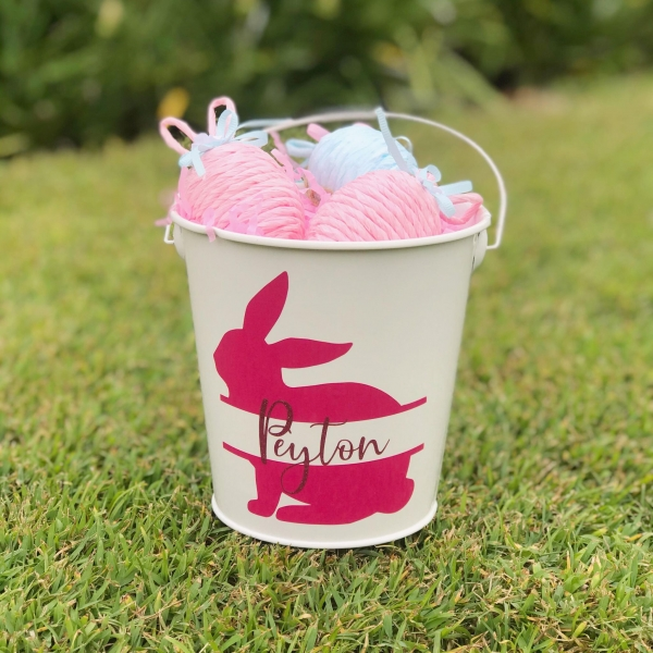 Personalised Sitting Bunny Easter Bucket