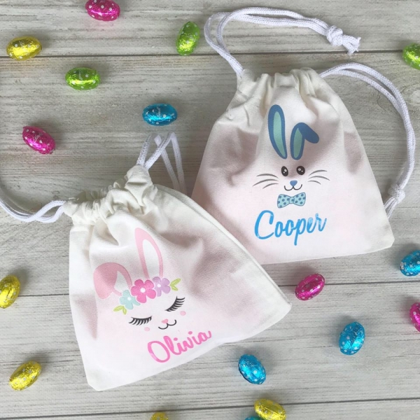 Personalised Mini Drawstring Easter Bags