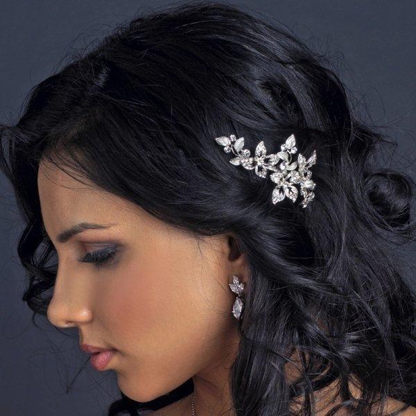 Petite Silver Floral Sparkling Rhinestone Bridal Hair Clip