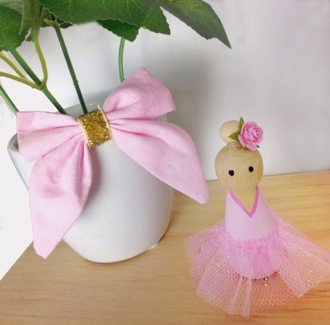 Pastel Pink Ballerina Peg Doll Kids Decor