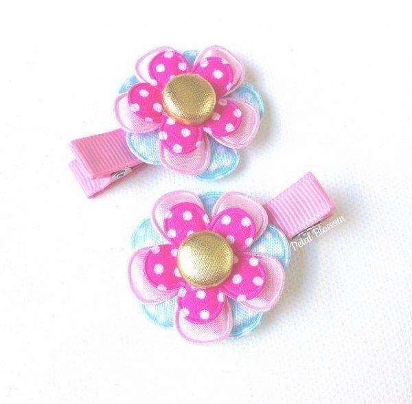 Pink & Blue Fairy Flower Girls Hair Clips