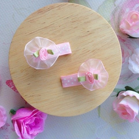Mini Pale Pink Floral Pigtail Hair Clips