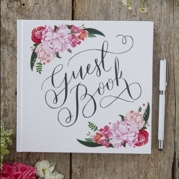 Pink Floral Wedding Guest Book