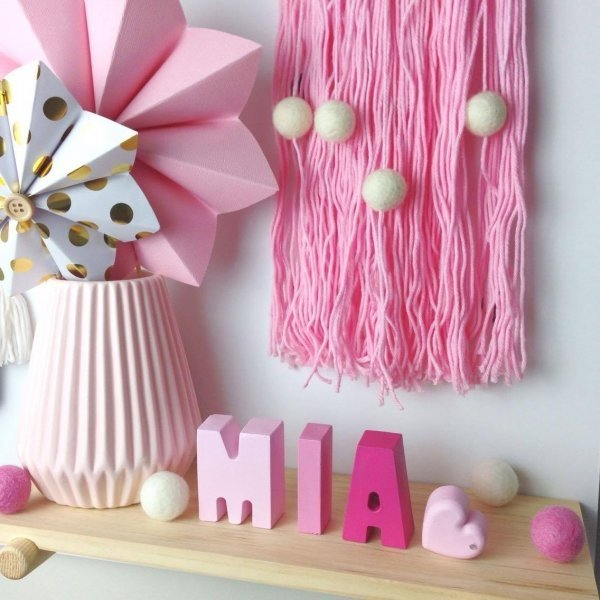 Pink Ombre Personalised Kids Names - Room Decor