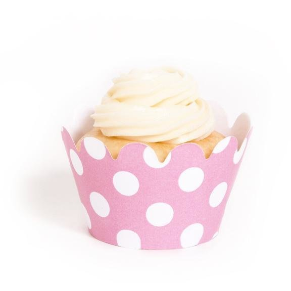 Pink Polka Dot Mini Cupcake Wrappers