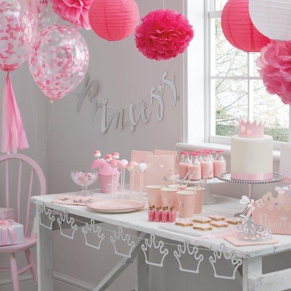 Pink & Silver Foil Princess Paper Party Plates