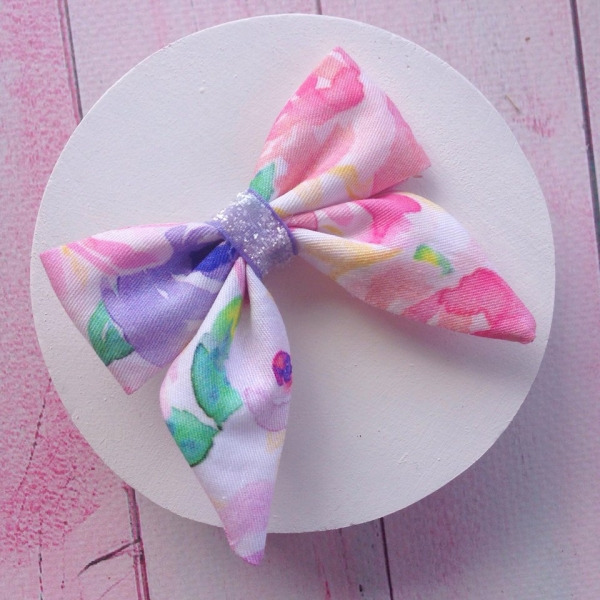 Pink Purple Pastel Floral Watercolour Baby Bow Hair Clip or Headband