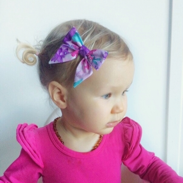 Pink, Purple & Aqua Floral Fabric Sailor Bow Headband or Clip