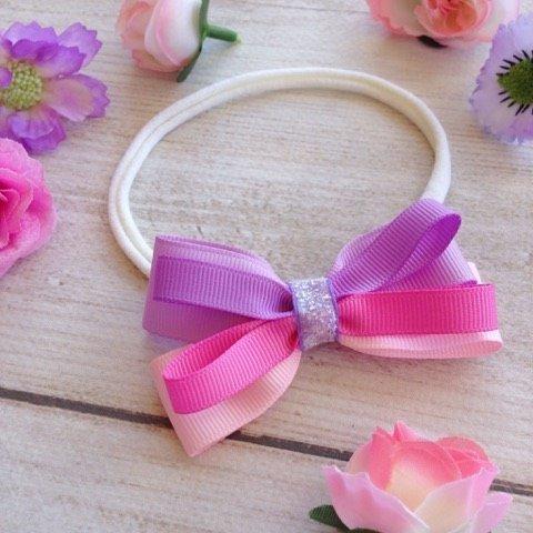 Pink & Purple Ombre Ribbon Loop Girls Headband
