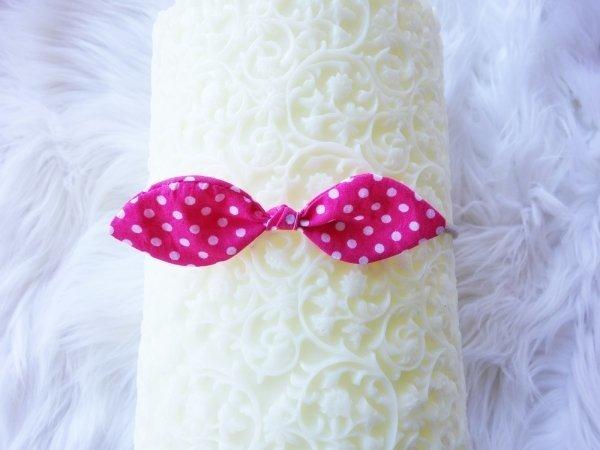 Set of 3 Pink & Purple Polka Dot Fabric Headbands