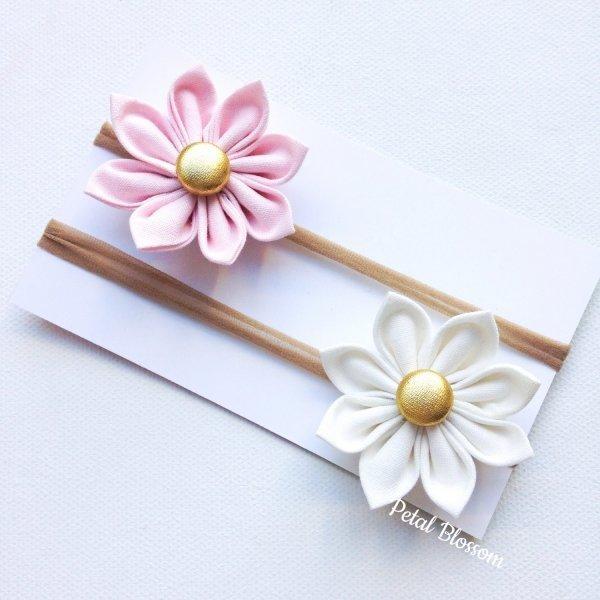 Pastel Pink & White Flower Blossom Stretchy Headbands