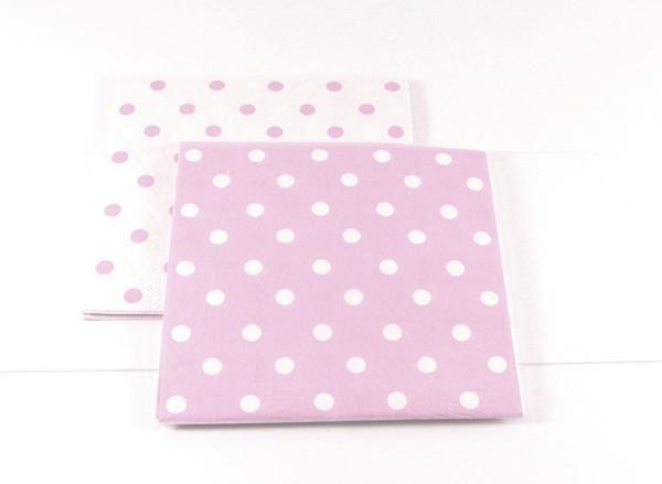 Reversible Pink Polkadot Napkins - Pack of 12