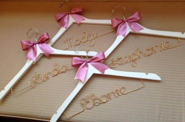 Plain Coat Hanger With Gold Wire Personalised Wedding