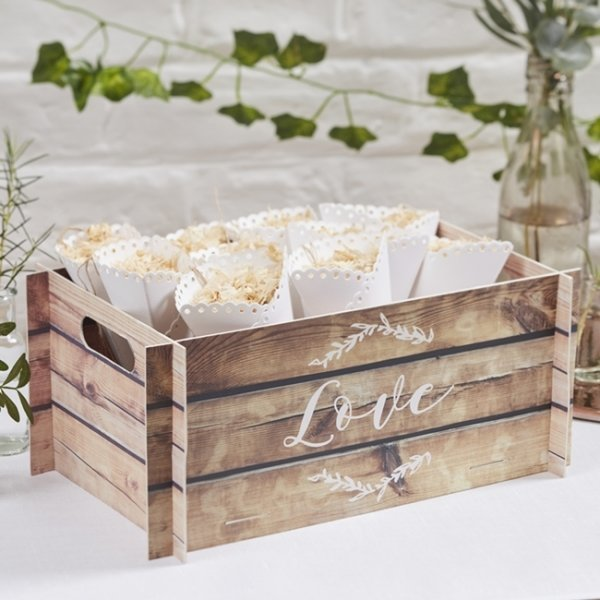 Wooden Effect Card Crate Reception Decoration