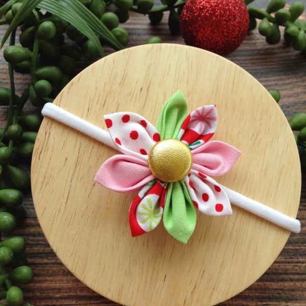 Pretty Christmas Fabric Flower Blossom Girls Headband