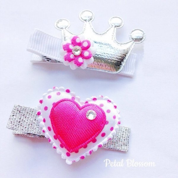 Princess Pink Girls Hair Clip Set