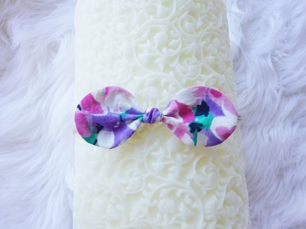 Olivia Purple Floral Spring Fling Baby Bow Headband