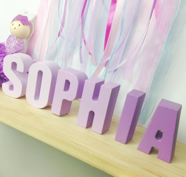 Purple Ombre Molded Kids Names - Room Decor