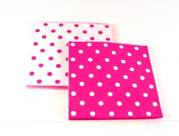 Reversible Raspberry Pink Polkadot Napkins - Pack of 12