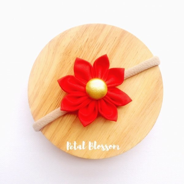 Red Fabric Flower Blossom Girls Headband