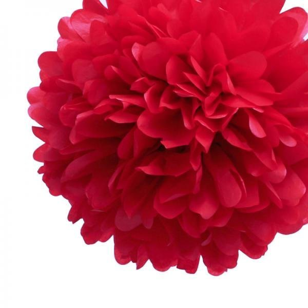 Red Mini Tissue Paper Pom Poms - Pack of 8