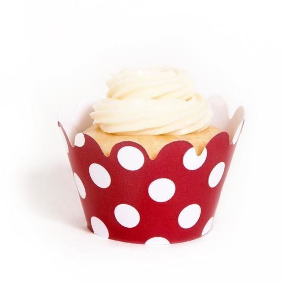 Red Polka Dot Mini Cupcake Wrappers - Pack of 18