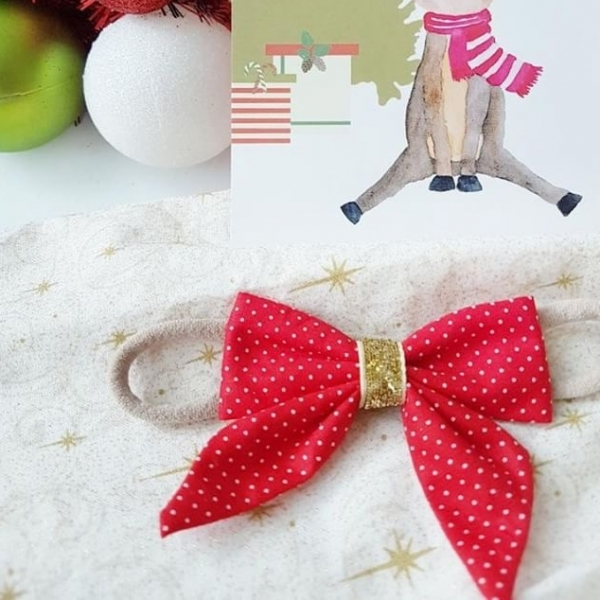 Red & White Pin Dot Christmas Bow Headband or Clip