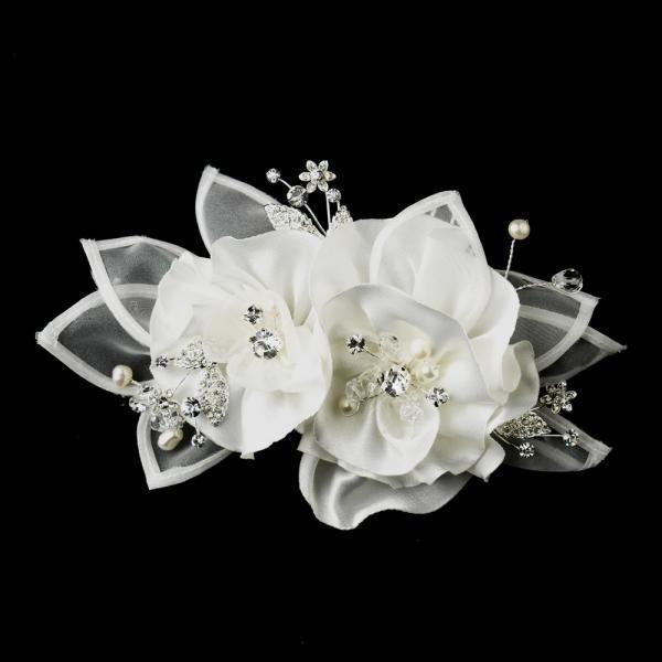 Rhinestone & Freshwater Pearl Flower Organza Hair Clip