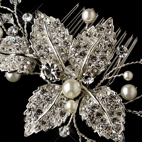 Rhinestone & Pearl Vine Silver Bridal Hair Comb