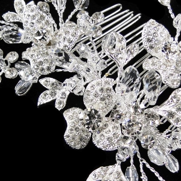 Rhinestone & Swarovski Crystal Floral Bridal Comb