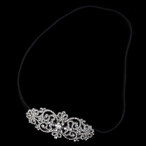 Rhinestone Swirl Elastic Headband