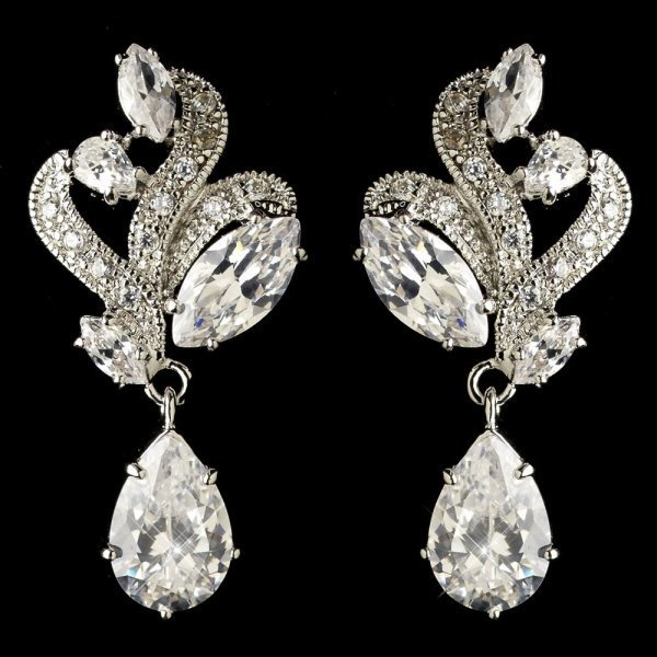 Rhodium Clear Marquise & Teardrop CZ Crystal Earrings
