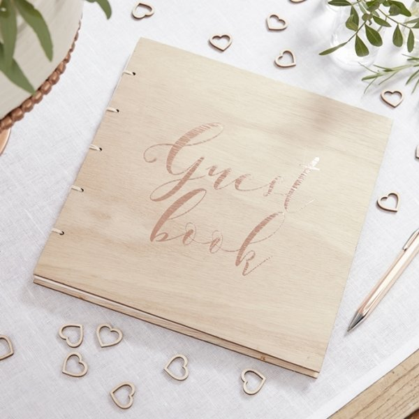 Rose Gold Foil Wooden Guest Book