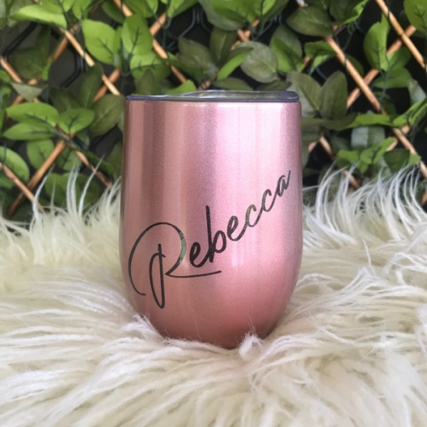 Rose Gold Personalised Insulated Wine Tumbler Cup 12oz
