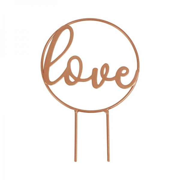 Rose Gold Scripted Love Cake Topper