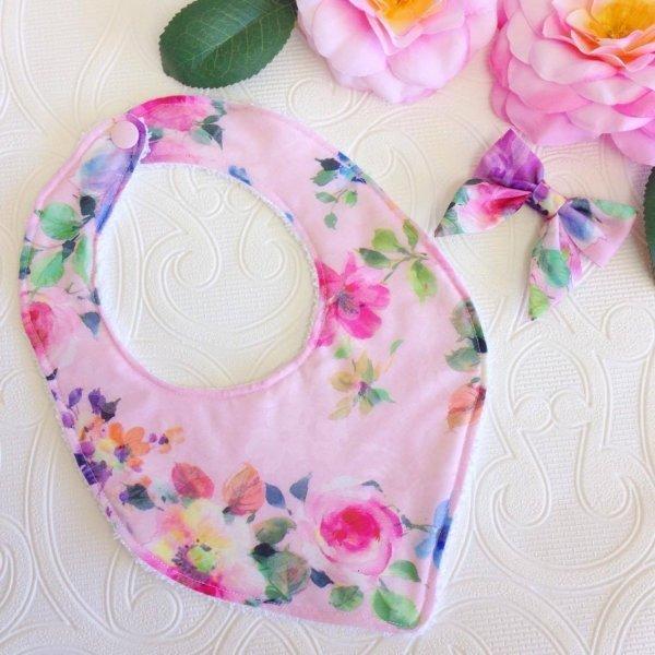 Rosie Pink Floral Bib & Hair Bow Baby Gift Set