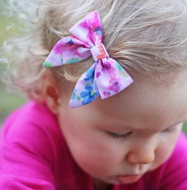 Rosie Pink Floral Baby Bow Headband or Clip