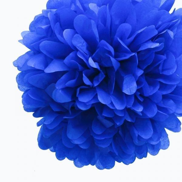 Royal Blue Tissue Pom Poms - Pack of 4
