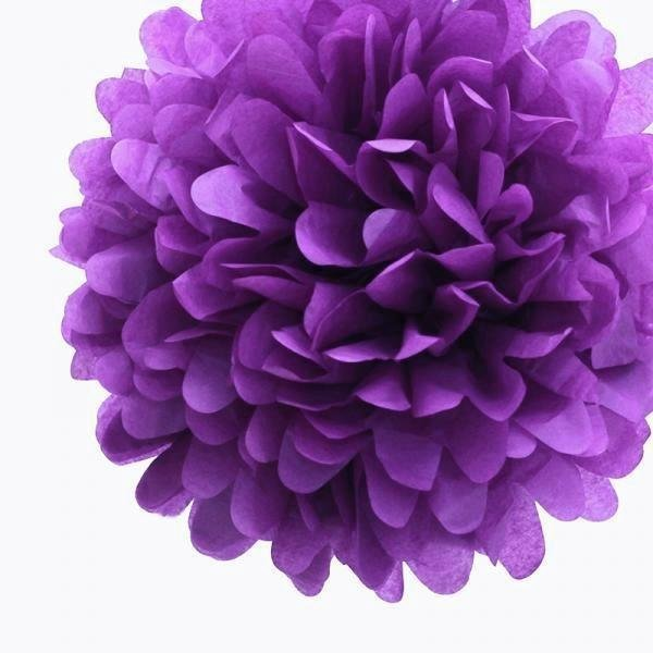 Royal Purple Mini Tissue Paper Pom Poms - Pack of 8